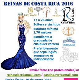 Fecha límite 30 de enero 2016: La agencia Reinas de Costa Rica busca chicas para representar al país en diferentes eventos de belleza