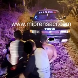 La noche del domingo 12 de abril 2020: Fuerza Pública de Cóbano detiene banda que se dedicaba a robar cables en el sector de La Esperanza de Paquera