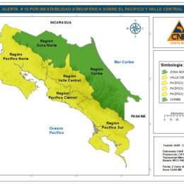 Inestabilidad Atmosférica: Amplían alerta amarilla para el Pacífico y Valle Central