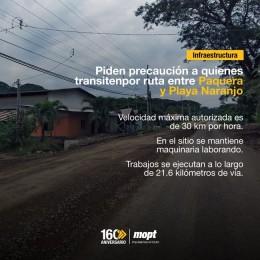 Velocidad máxima 30 Km por hora: Piden precaución a quienes transitenpor ruta entre Paquera y Playa Naranjo