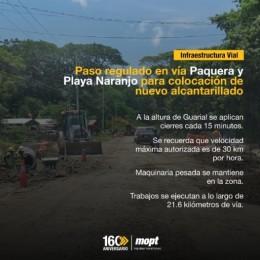 Paso regulado en vía Paquera y Playa Naranjo para colocación de nuevo alcantarillado: A la altura de Guarial se aplican cierres cada 15 minutos