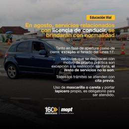 En agosto, servicios relacionados con licencia de conducir, se brindarán con normalidad: Vehículos que se desplacen con motivo de la prueba práctica son excepción a la restricción sanitaria