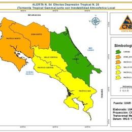 Por constantes lluvias: CNE declara alerta naranja en el Pacífico Norte incluyendo la Península de Nicoya y Zona Norte del país