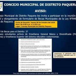 Este jueves 08 de octubre de 9 a 11 am: Concejo Municipal de Paquera convoca a reunión para entrega de solicitudes y formularios para optar por becas municipales