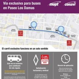 San José tendrá dos nuevos carriles exclusivos para buses a partir del lunes 12 de octubre: Paseo de Los Damas será 100% exclusivo para buses