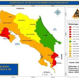 CNE eleva el estado de Alerta ROJA para Corredores, Coto Brus, Hojancha, Nandayure y Nicoya