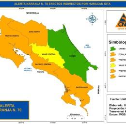 CNE eleva a alerta naranja todo el Pacífico y Zona Norte: Huracán Iota podría generar lluvias más intensas durante las siguientes 24 horas en Costa Rica