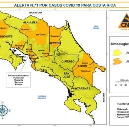 Cantones de Guatuso, Orotina, Poás, Sarapiquí, Abangares y Esparza suben a alerta naranja: Mientras que San José, Alajuelita, Goicoechea y 8 cantones más bajan a alerta amarilla