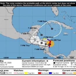 Huracán Eta se degrada a categoría 2 luego de entrar a Nicaragua: Se mantiene influencia indirecta sobre Costa Rica