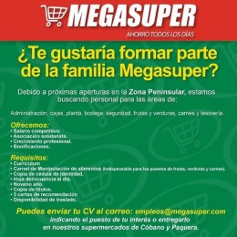 Megasuper busca personal en diferentes áreas por próximas aperturas en la zona Peninsular