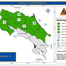 Por empuje frío: CNE declara alerta verde en el Pacífico Norte, Zona Norte, Caribe y Valle Central